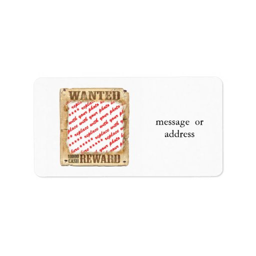WANTED Poster Photo Frame Label