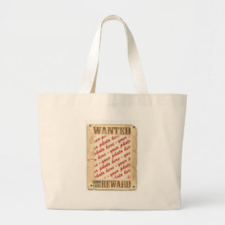 WANTED Poster Photo Frame Large Tote Bag