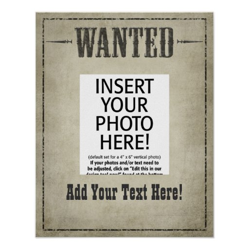 wanted poster template zazzle. Black Bedroom Furniture Sets. Home Design Ideas