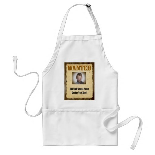 Wanted Poster, Vintage Picture Frame Apron