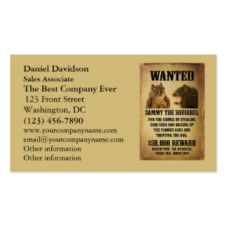 Wanted Poster with Squirrel Double-Sided Standard Business Cards (Pack Of 100)
