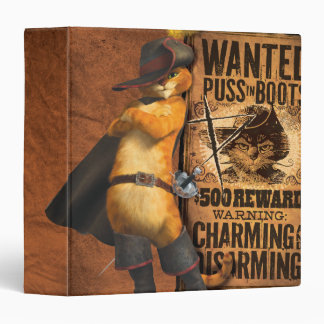 Wanted Puss in Boots (char) 3 Ring Binder