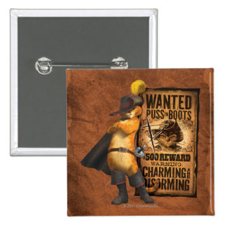 Wanted Puss in Boots (char) 2 Inch Square Button