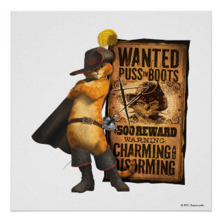 Wanted Puss in Boots (char) Poster