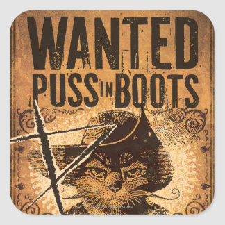 Wanted Puss in Boots Square Sticker