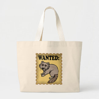 Wanted Raccoon Large Tote Bag