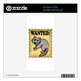 Wanted Raccoon iPhone 4 Decals