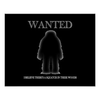 Wanted Sasquatch In Woods Shadow Effect Poster