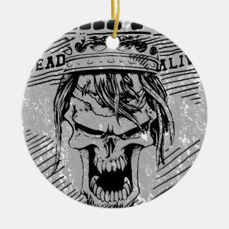 Wanted Skull King Skeleton Ceramic Ornament