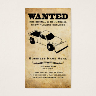 wanted : snow plow services business card