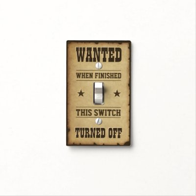 Turn Off Notice Sign Light Switch Cover