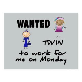 wanted twin ... girls postcard