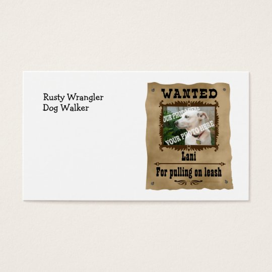 Wanted Wild West Poster Pet Custom Photo Template Business Card