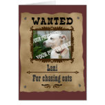Wanted Wild West Poster Pet Custom Photo Template Greeting Card