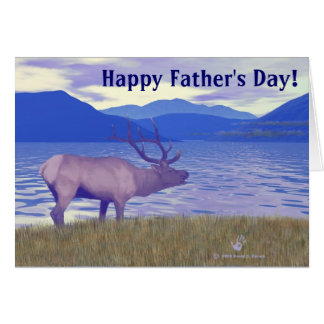 Wapiti (Elk) By The Lake Father's Day Greeting Card