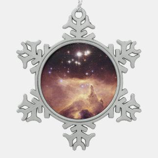 War and Peace Nebula Snowflake Pewter Christmas Ornament