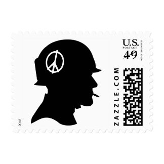 War and Peace Sign Soldier Political Protest Stamp