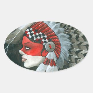 War Bonnet Oval Sticker