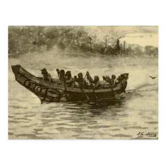 war canoe postcard
