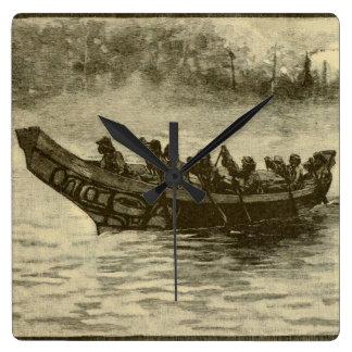 war canoe square wall clock