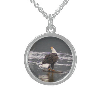War cry of the bald eagle sterling silver necklace