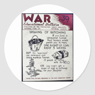 War Educational Bulletin - 39 Classic Round Sticker