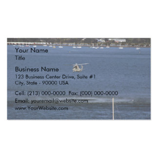 War flight flying low over the ocean business card