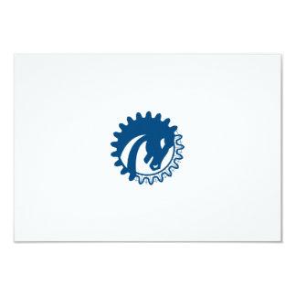 War Horse Head Gear Blue Print Retro Card
