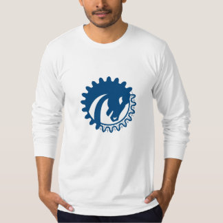 War Horse Head Gear Blue Print Retro T-Shirt