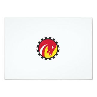 War Horse Head Gear Circle Retro Card