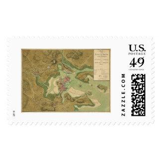 War in Boston Map - 1776 Postage