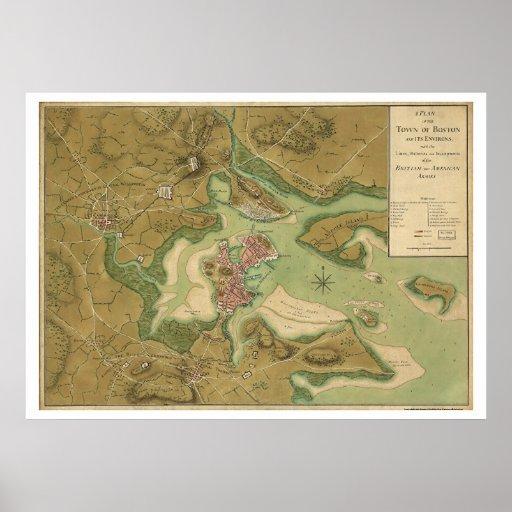 War in Boston Map - 1776 Poster
