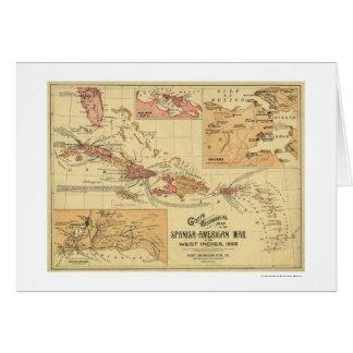 War In West Indies Map 1898 Card