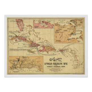 War In West Indies Map 1898 Poster