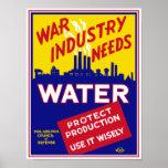 War Industry Needs Water - WPA Poster