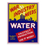 War Industry Needs Water - WPA Poster