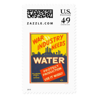 War Industry Water WWII 1943 WPA Stamps