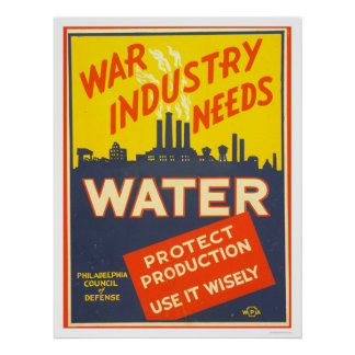 War Industry Water WWII 1943 WPA Posters