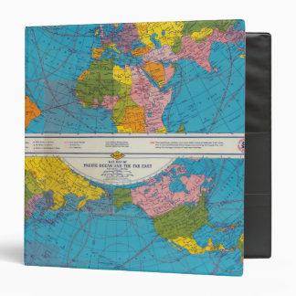 War map Atlantic, Eurasia, Africa, Pacific Ocean 3 Ring Binder