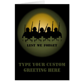 War Memorial Card Personalize Lest We Forget Card