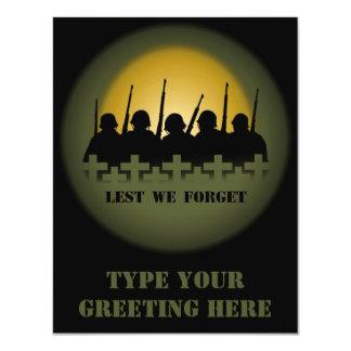 War Memorial Invitations Lest We Forget RSVP Cards