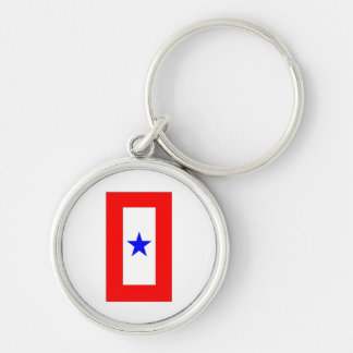 WAR MOTHERS FLAG Silver-Colored ROUND KEYCHAIN