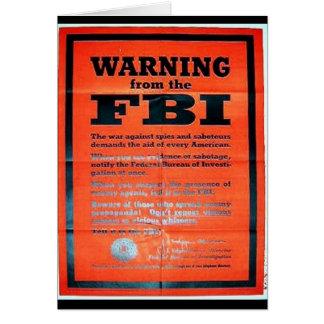War Ning From The Fbi Greeting Card
