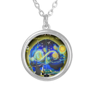 War on Brains Poster Silver Plated Necklace