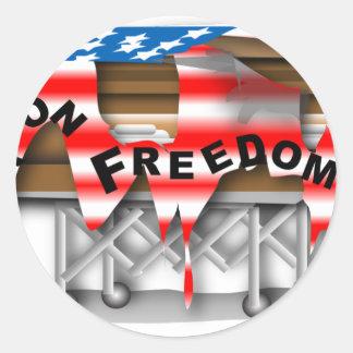 War on Freedom Casket Classic Round Sticker