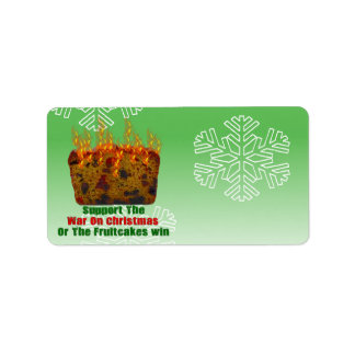 War On Fruitcakes Personalized Address Labels