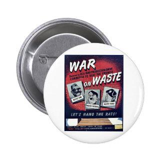 War On Waste Pinback Button