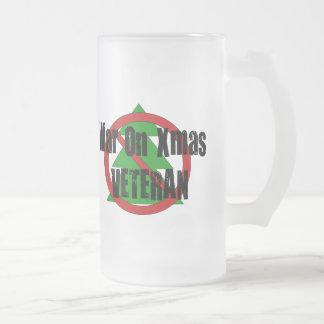 War on Xmas Veteran Frosted Glass Beer Mug