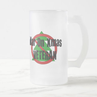 War on Xmas Veteran 16 Oz Frosted Glass Beer Mug