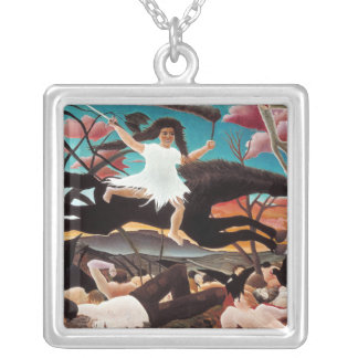 War or the Ride of Discord, Henri Rousseau Silver Plated Necklace